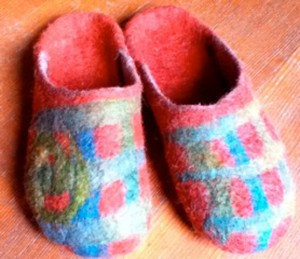 Carin Engen  felting felted slippers Mendocino Farmhouse blog