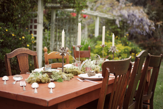 Table set for Mendocino Wedding party
